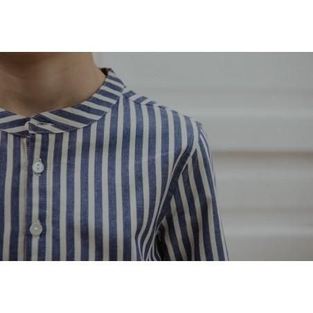 Chemise col mao rayée bleue Maxence