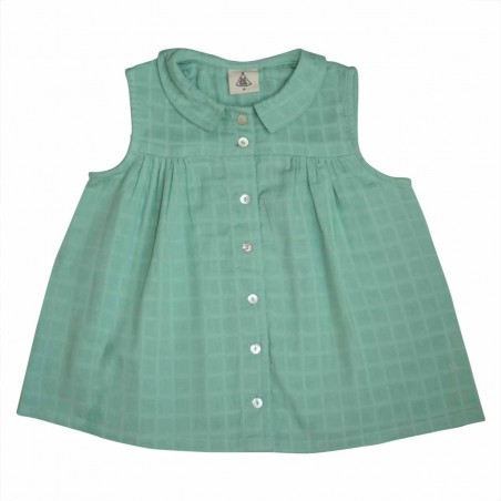 Colombe Sleeveless Blouse green double gauze