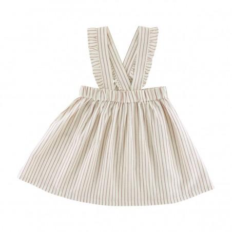 Capucine Braces Skirt terracotta stripes