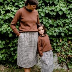 Jupe femme en tweed Brune