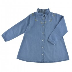Blouse Romy denim bleu brodé