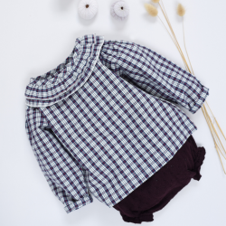 Philomene Blouse blue check